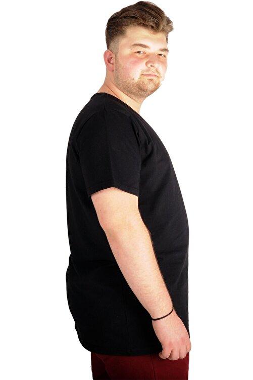 ModeXL Büyük Beden T-shirt V Yaka Likralı 20150 Siyah 2