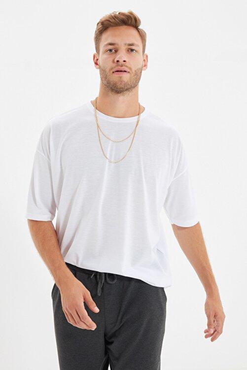 TRENDYOL MAN Beyaz Basic Erkek Bisiklet Yaka Oversize Kısa Kollu T-Shirt TMNSS21TS0811 2