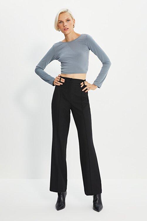 TRENDYOLMİLLA Siyah Yüksek Bel Nervür Dikişli Pantolon TWOSS21PL0093 2