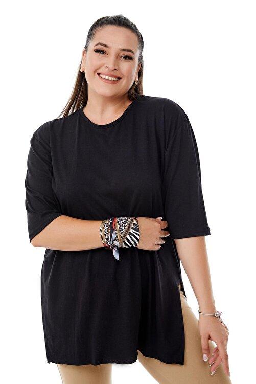 Siyezen Kadın  Büyük Beden Siyah Yırtmaçlı Basic Bluz 2