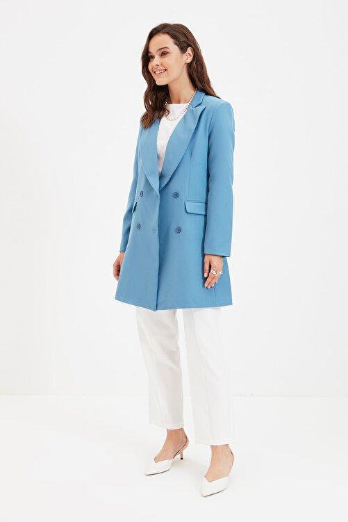 Trendyol Modest Mavi Çift Düğmeli Ceket TCTAW22CK0007 2