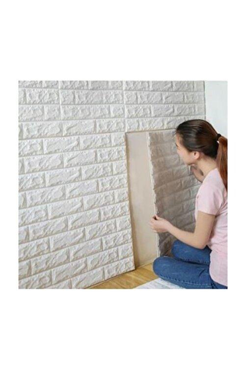 Renkli Duvarlar Nw01 Kendinden Yapışkanlı 70x77 Cm 4,5mm Sünger Beyaz Tuğla Duvar Kağıdı Paneli 1
