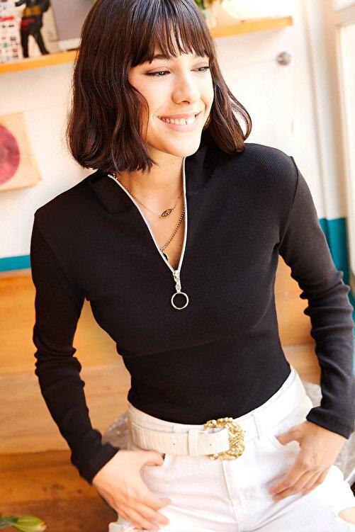 Olalook Kadın Siyah Balıkçı Yaka Beyaz Fermuarlı Likralı Bluz BLZ-19001155 1
