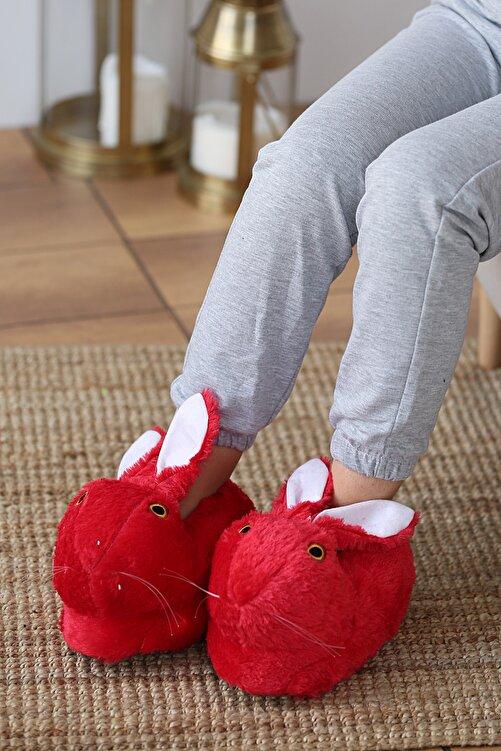 Pembe Potin Kadın Kırmızı Siyah Tavşanlı Panduf 1