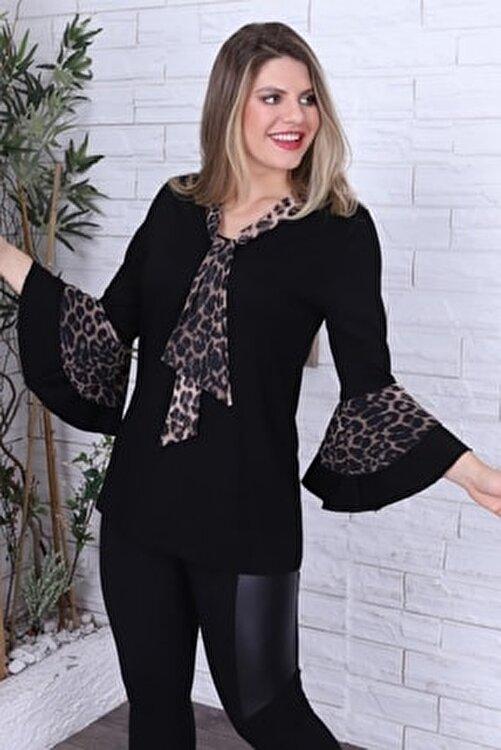 1fazlası Kadın Büyük Beden Kahverengi Leopar Desenli Bluz 2