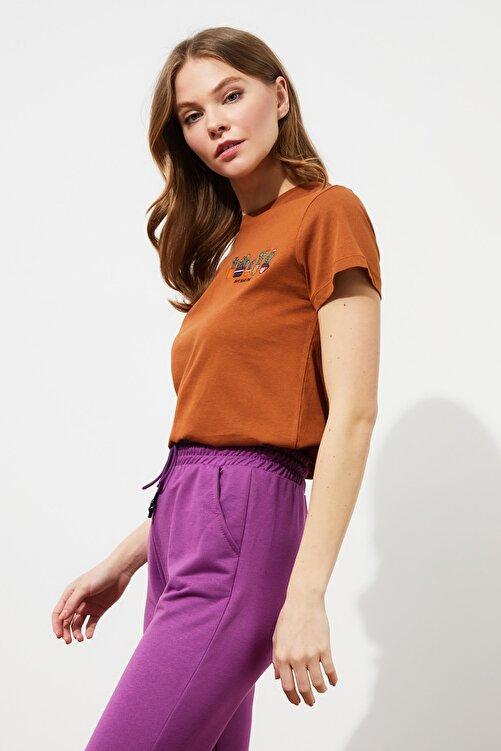 TRENDYOLMİLLA Tarçın Nakışlı Basic Örme T-Shirt TWOSS20TS0103 2