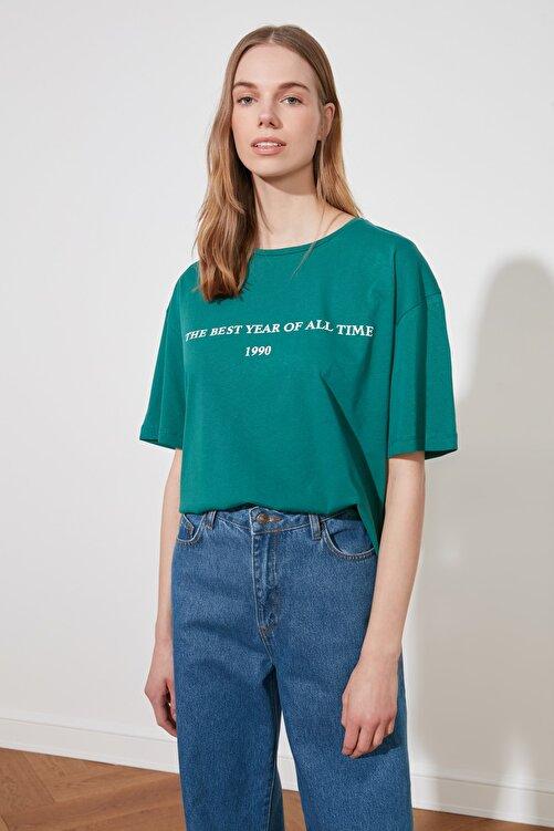 TRENDYOLMİLLA Yeşil Baskılı Loose Kalıp Örme T-Shirt TWOSS19GH0034 1