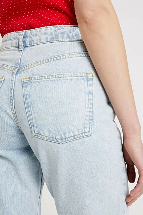 MODASMA Indigo Yüksek Bel Relaxed Fit Jeans 2