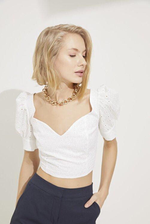 adL Kadın Kemik Balon Kol Kalp Yaka Crop Bluz 1