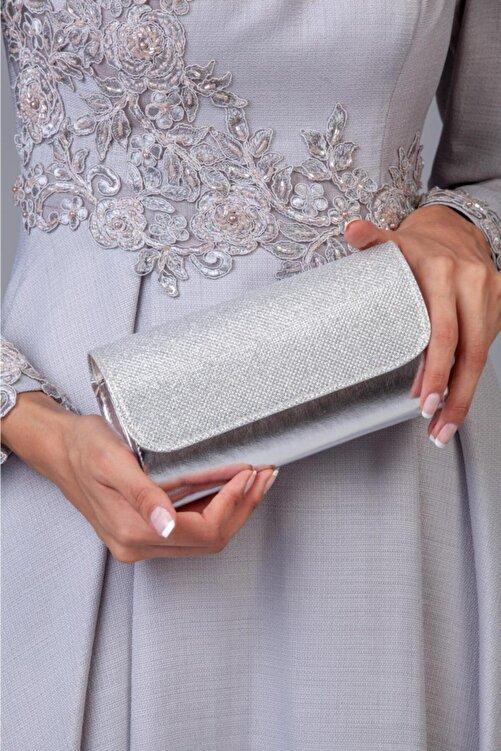 Defnella Kadın Gümüş Gri Simli Abiye Portföy & Clutch El Çantası 1