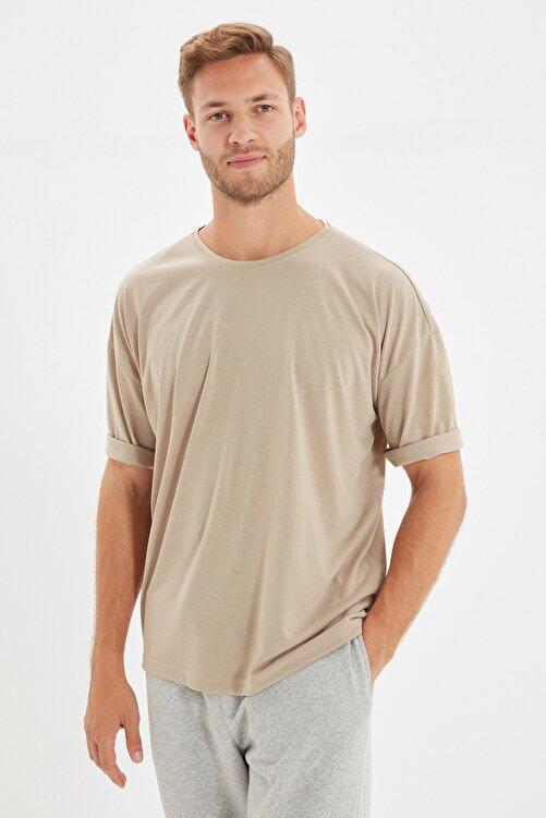 TRENDYOL MAN Taş Basic Erkek Bisiklet Yaka Oversize Kısa Kollu T-Shirt TMNSS21TS0811 2