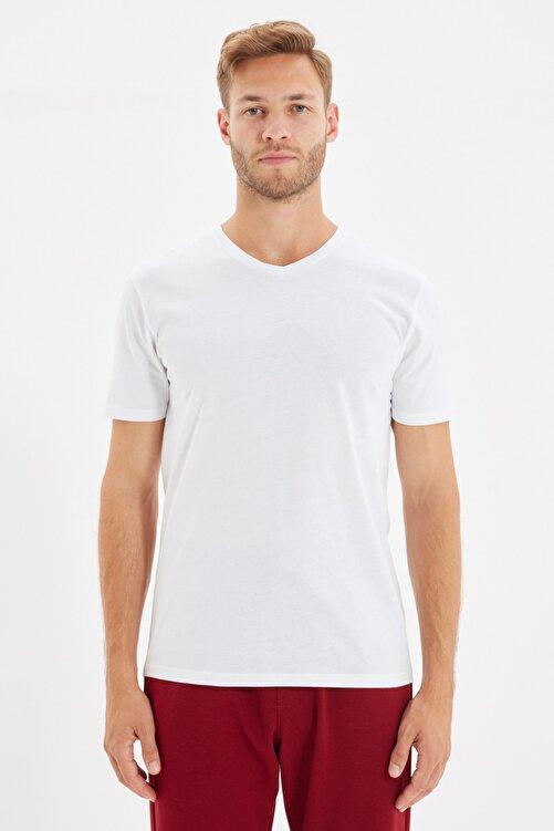 TRENDYOL MAN Beyaz Erkek Basic Slim Fit V Yaka Kısa Kollu T-Shirt TMNSS19BO0002 1