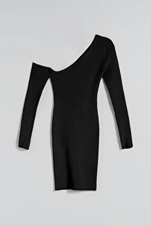 Bershka Uzun Kollu Pencere Detaylı Asimetrik Elbise 2