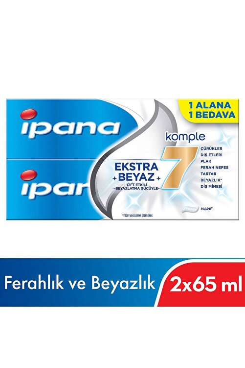 İpana Ipana Komple 7 Beyazlık Diş Macunu 1 Alana 1 Bedava Paketi (65 ml + 65 ml) 2