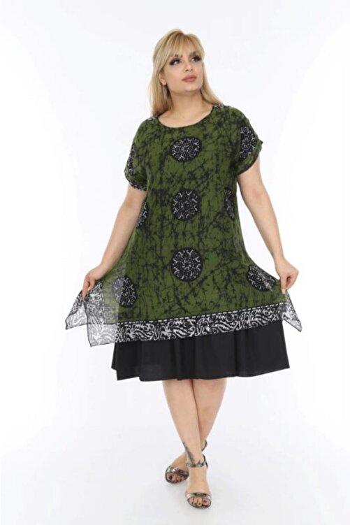 Moda Ataman Büyük Beden Etnik Desenli Tülbent Kumaş Yazlık Elbise Haki 2