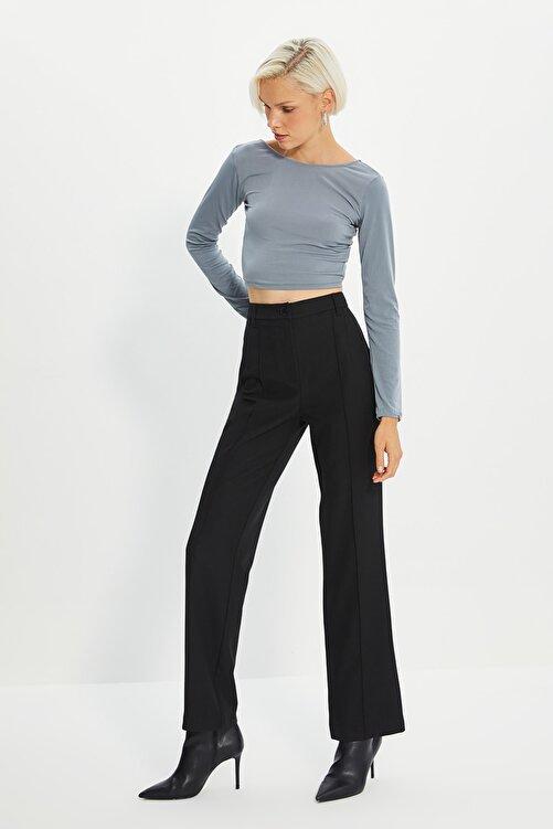 TRENDYOLMİLLA Siyah Yüksek Bel Nervür Dikişli Pantolon TWOSS21PL0093 1