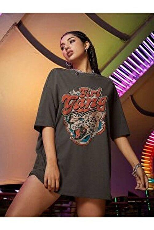 Millionaire Kadın Girl Gang Antrasit Oversize T-shirt 2