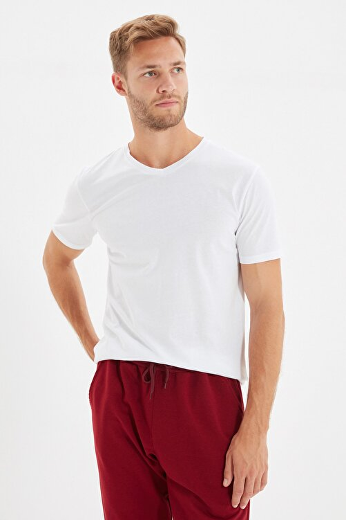 TRENDYOL MAN Beyaz Erkek Basic Slim Fit V Yaka Kısa Kollu T-Shirt TMNSS19BO0002 2