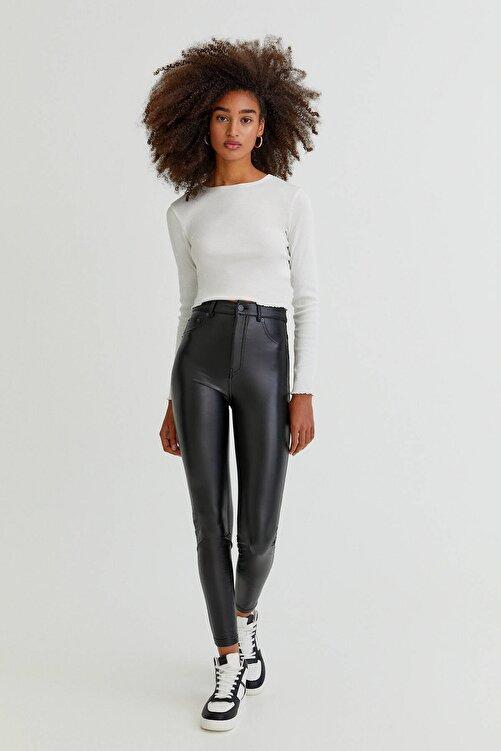 Pull & Bear Siyah Skinny Fit Suni Deri Pantolon 1