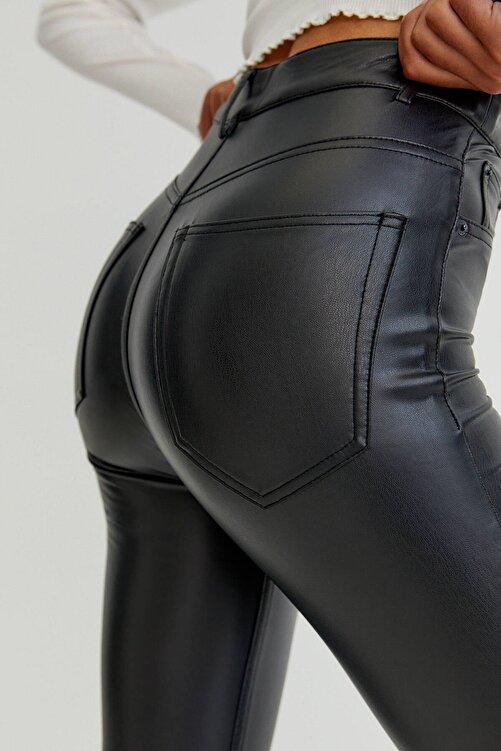 Pull & Bear Siyah Skinny Fit Suni Deri Pantolon 2
