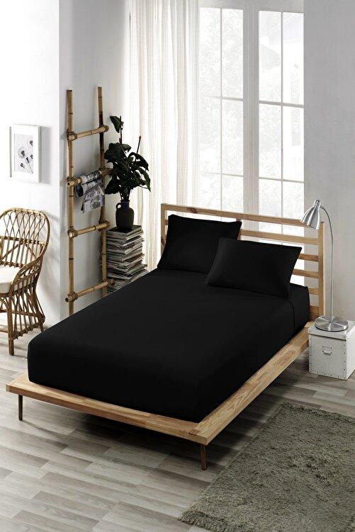 ELY PARKER (Pamuklu Penye) Çift Kişilik Lastikli Çarşaf (Yüksek Yataklara Uygun) Siyah (30 cm Derinlik) 1
