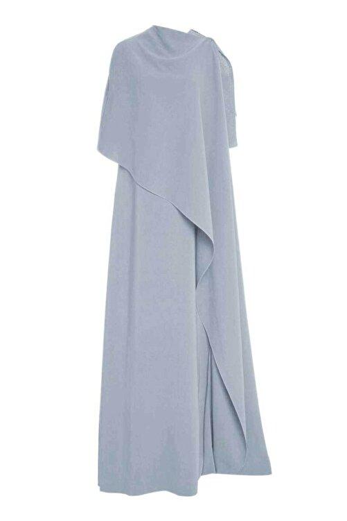 MERT ERKAN Fernandez Buz Mavisi Drape Detaylı Dökümlü Elbise 2