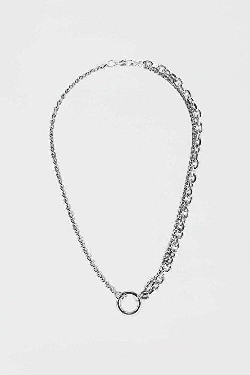 Pull & Bear Gümüş Rengi Zincir Kolye 1