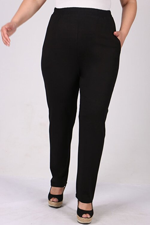 Eslina 9160 Büyük Beden Penye Yüksek Bel Lastikli Pantolon - Siyah 1