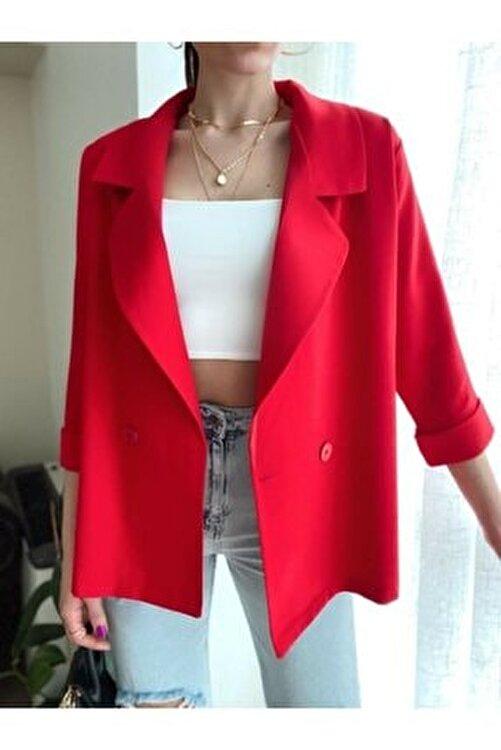 Valeria Vilson Kadın Kırmızı Oversize Kruvaze Yaka Blazer Ceket Önden Çift Düğmeli 1