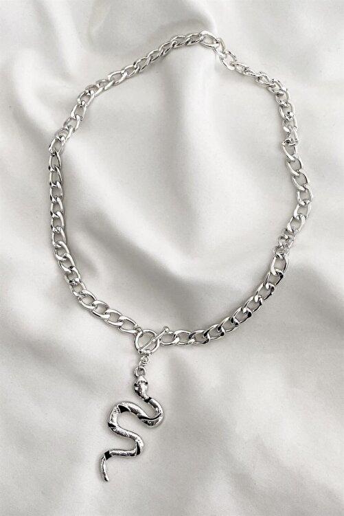 TAKIŞTIR Kadın Gümüş Renk Yılan Figürlü Zincir Kolye 1