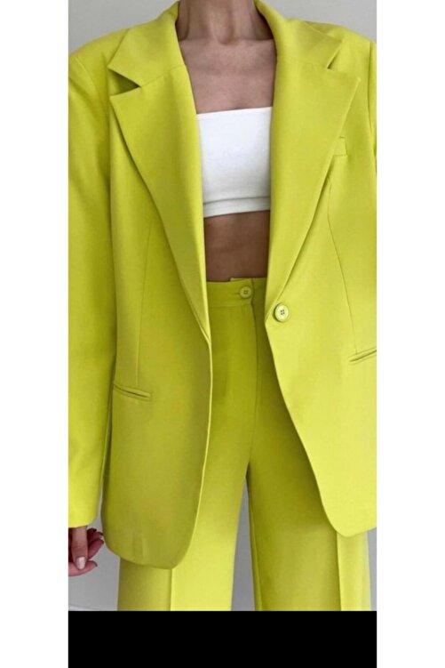The Ness Collection Retro Boyfriend Oversized Lime Blazer Ceket 1