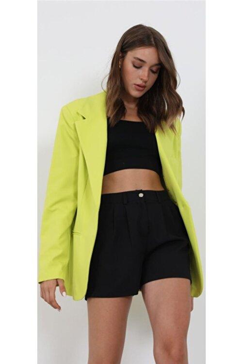 The Ness Collection Retro Boyfriend Oversized Lime Blazer Ceket 2