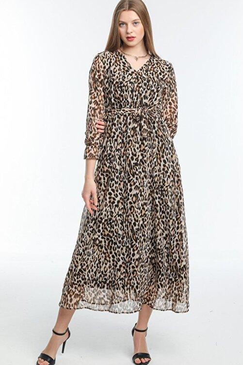 Elbise Delisi Leopar Büyük Beden Şifon Elbise 1
