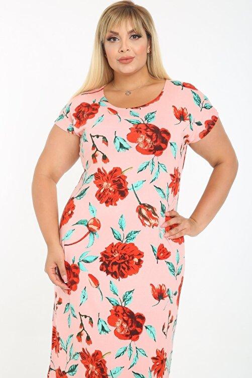 ASOTREND Kadın Büyük Beden Elbise Pembe Üzeri Çiçek Desenli Kısa Kollu Diz Altı Elbise 1