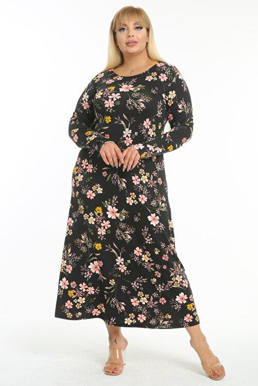 Mooi XXL Kadın Siyah Pembe Kırçiçeği Desen Büyük Beden Maksi Elbise 2