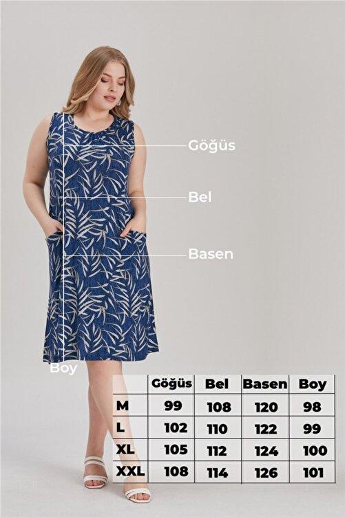 MİHRAMOR Kadın Büyük Beden Yaprak Desenli Cepli Elbise Mavi 1