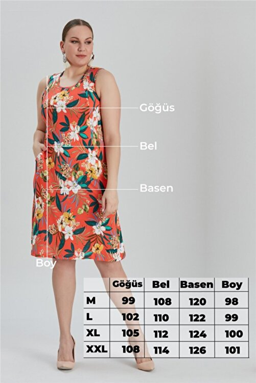 MİHRAMOR Kadın Büyük Beden Çiçek Desenli Cepli Elbise Nar Çiçeği 1