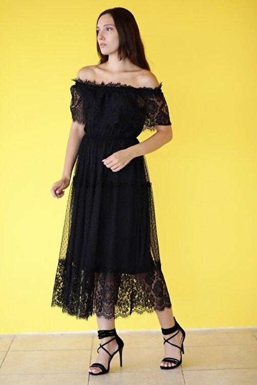 MDL Madonna Yaka Tül Dantel Elbise 2