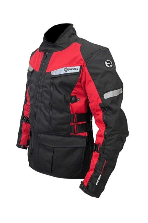 Prosev 7150 4 Mevsimlik Korumalı Uzun Motosiklet Montu Kırmızı Siyah 1