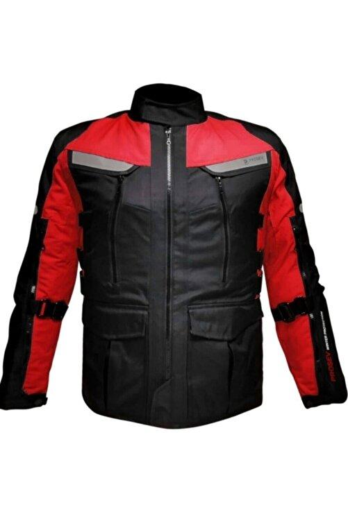 Prosev 7150 4 Mevsimlik Korumalı Uzun Motosiklet Montu Kırmızı Siyah 2