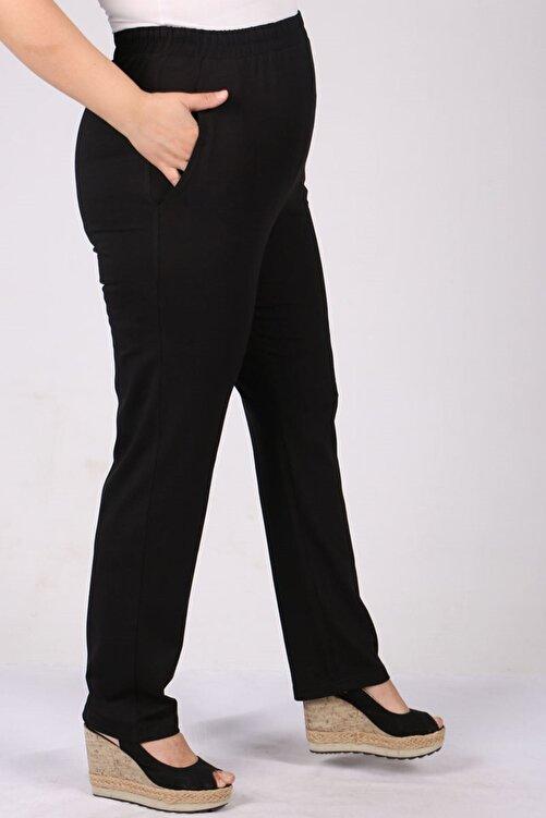 Eslina 9160 Büyük Beden Penye Yüksek Bel Lastikli Pantolon - Siyah 2