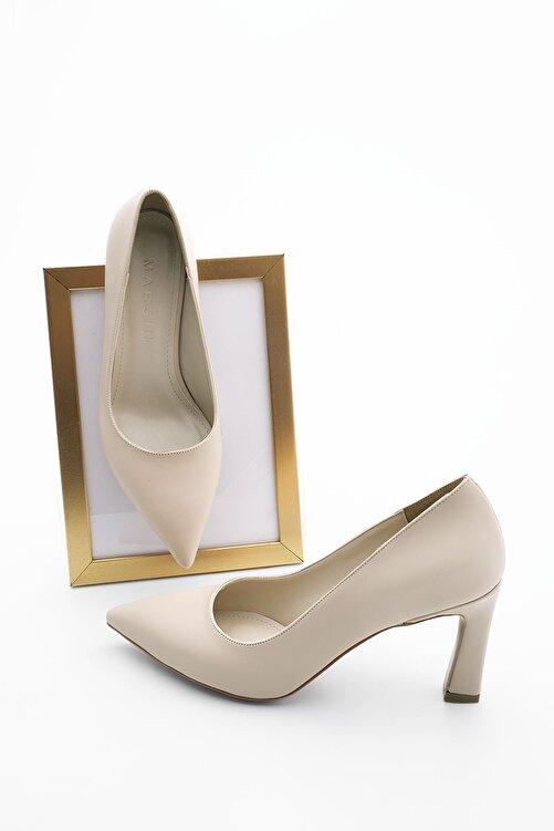 Marjin Kadın Bej Stiletto Topuklu Ayakkabı Akuna 2