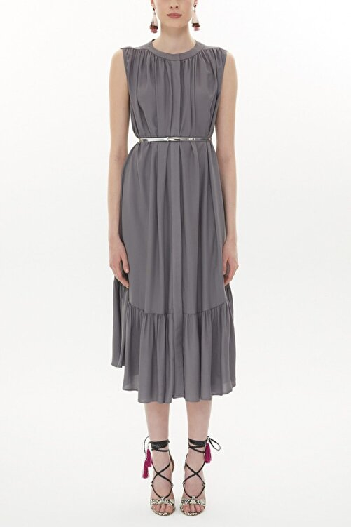 SOCIETA Büzgülü Uzun Elbise 93400 1