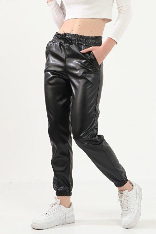 Prenses Tayt Kadın Siyah Içi Kadifeli Deri Pantolon 416-1 1