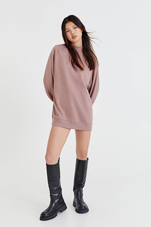 Pull & Bear Uzun Kollu Pamuklu Kumaş Elbise 2