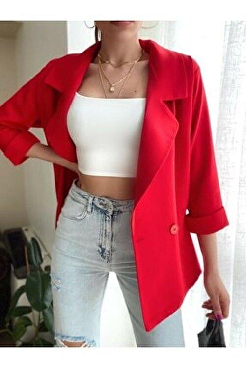 Valeria Vilson Kadın Kırmızı Oversize Kruvaze Yaka Blazer Ceket Önden Çift Düğmeli 2
