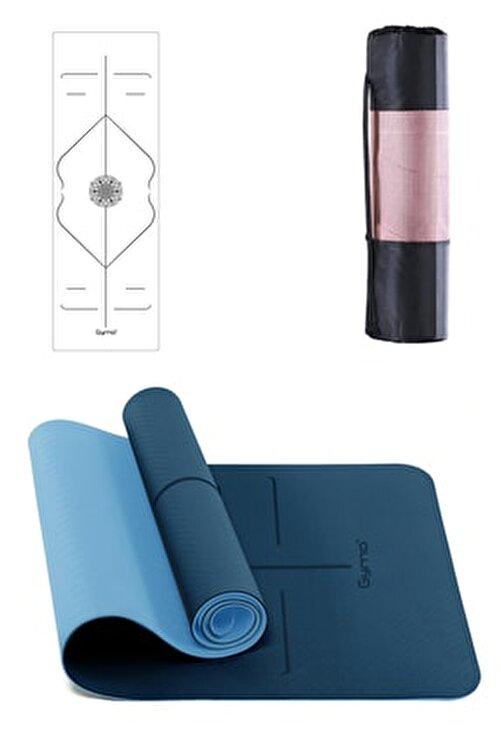 Gymo Hizalamalı 6mm Tpe Yoga Matı Pilates Minderi Mavi 1