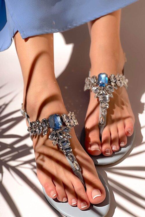 MaiaMarca Kadın Mavi Taşlı Sandalet 2