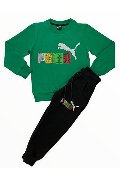 Puma Erkek Çocuk Yeşil Eşofman Takımı 2