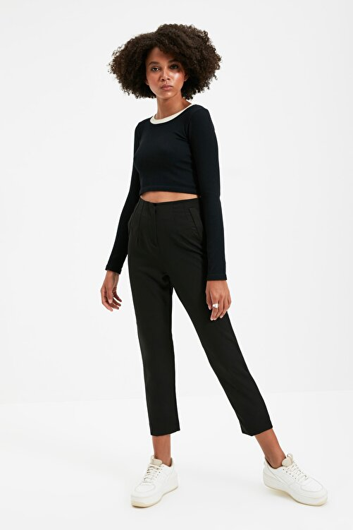 TRENDYOLMİLLA Siyah Yüksek Bel Pensli  Pantolon TWOSS20PL0515 1
